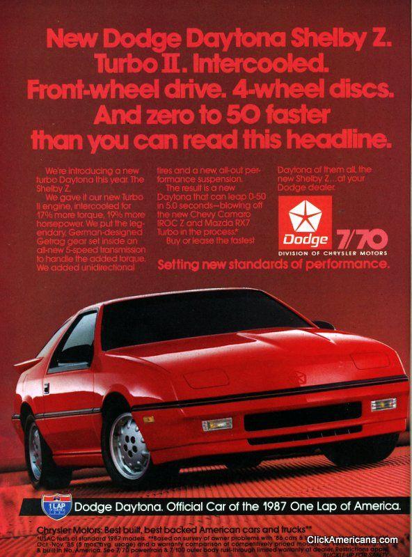 American car ads (1987)   Cars   Dodge daytona, Dodge