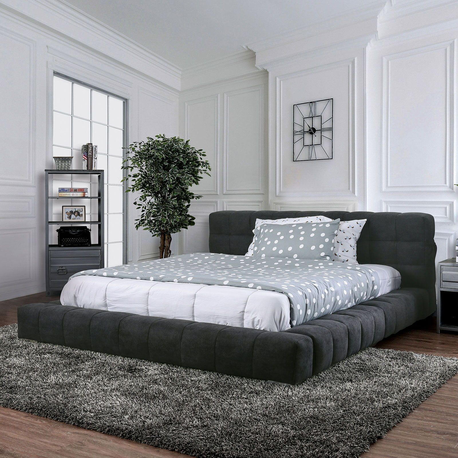 Wolsey Cal King Bed Dark Gray Queen In 2021 King Size Bedroom Sets Low Bed Frame Low Platform Bed Low profile king bed frame