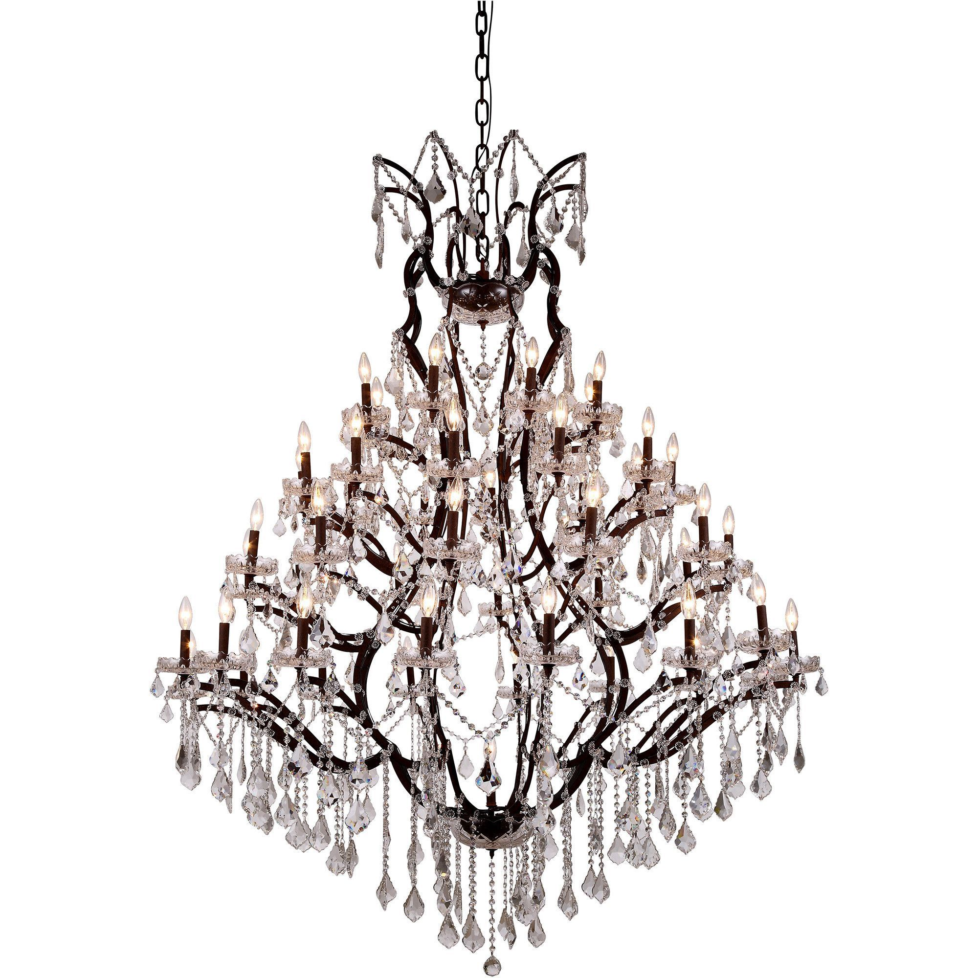 "Elena 60"" Diam Chandelier, Rustic Intent, Clear Crystal, Royal Cut"