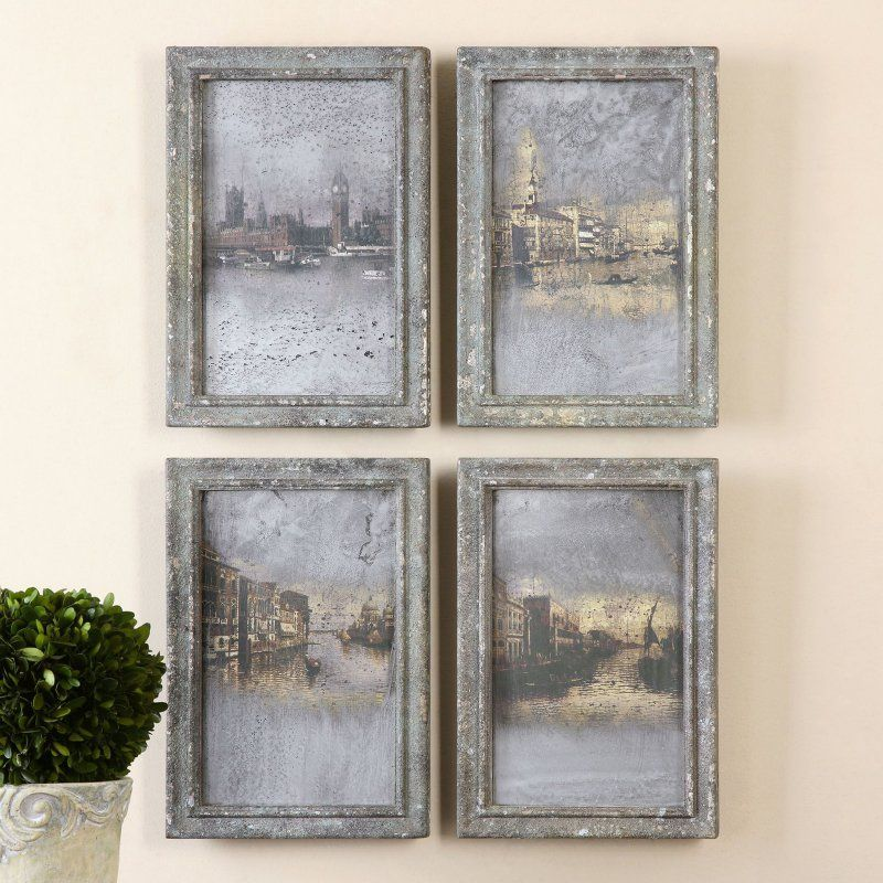 6dd59ef8cc58 Barn Wood Picture Frames · Uttermost Antique Venetian Views - Set of 4 -  56050 Tuscan Decorating