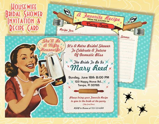 retro housewife bridal shower invitations shell be a nifty housewife 1 wear aprons 2 blank recipe cards for your guests 3 play old music 4 vintage