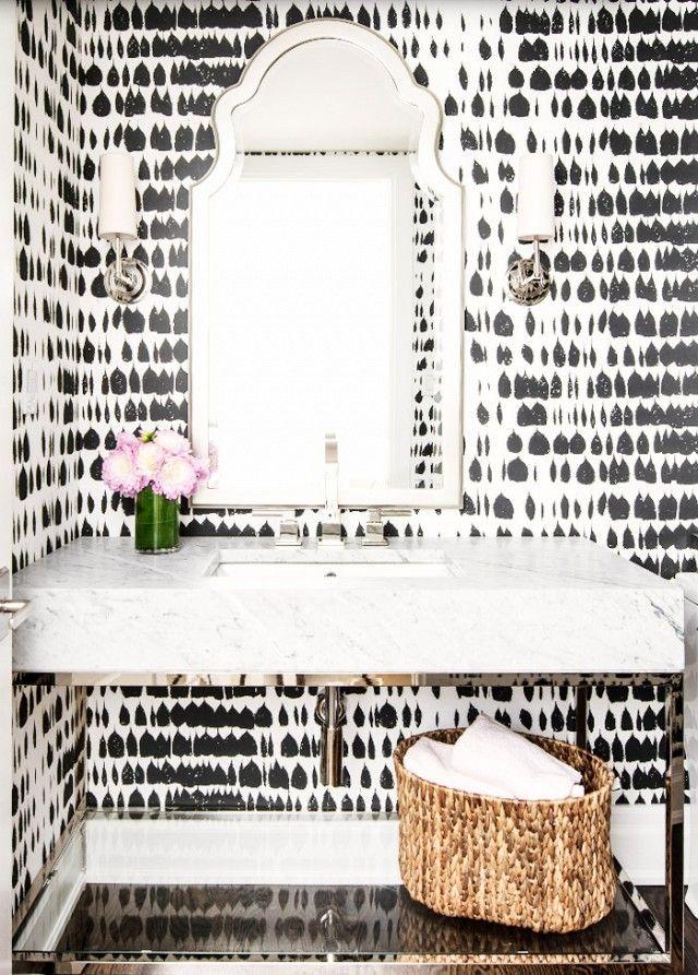 Life At Home Powder Room Wallpaper Powder Room Design White Bathroom Designs