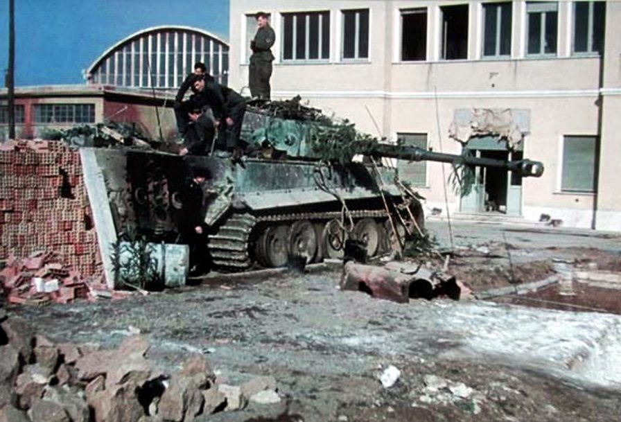 A rare color photo, taken in March-April 1944, showing a Panzerkampfwagen VI Tiger from schwere Panzer-Abteilung 508 undergoing repairs