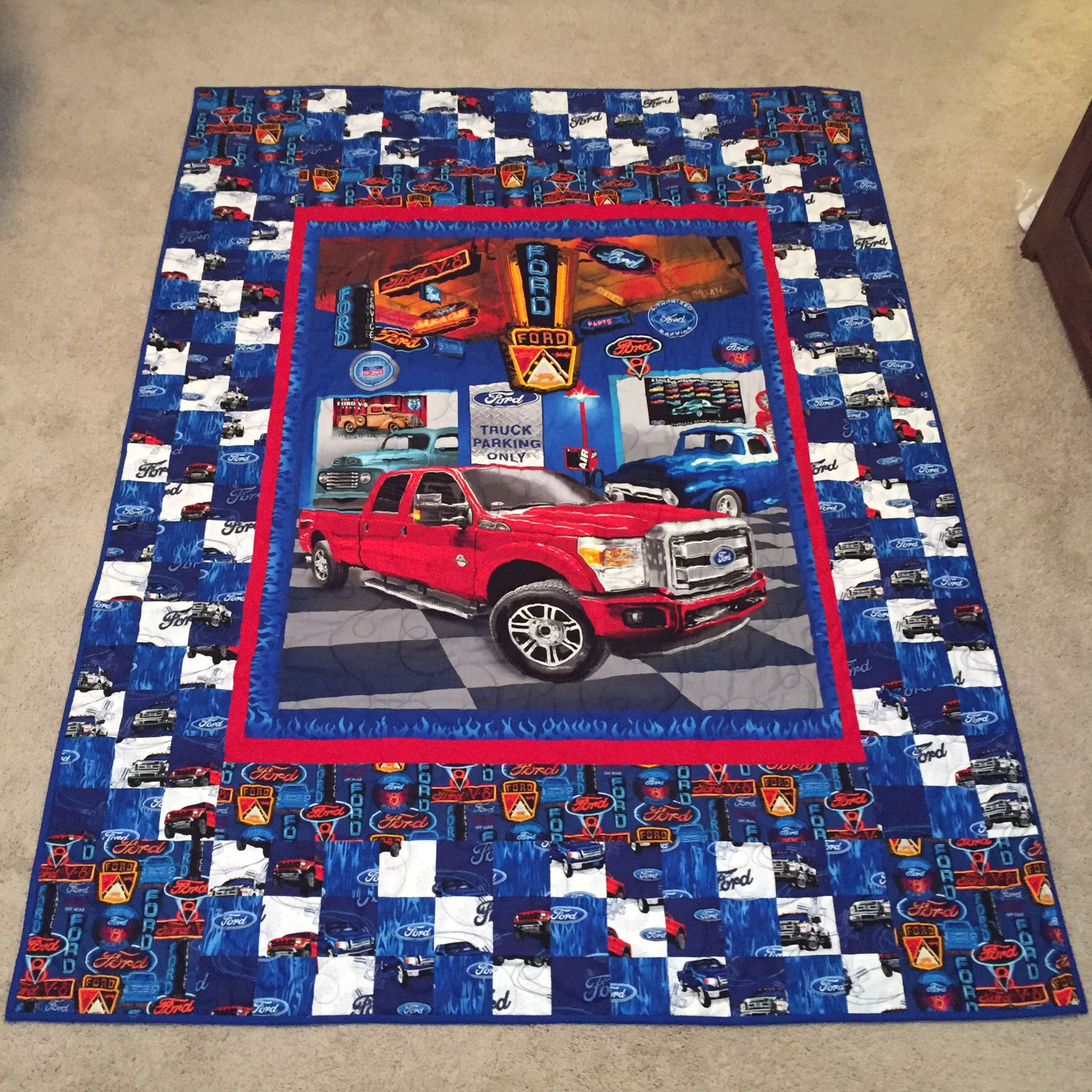Ford truck lap quilt fabric panel quilts fabric panels man quilt baby quilt