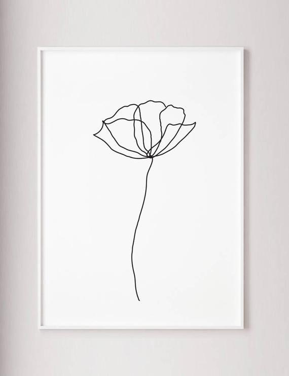 Fleur de pavot ligne muraux imprimer, décoration de style art moderne minimaliste, un trait, dessin contour, wabi sabi art, noir et blanc affiche botanique