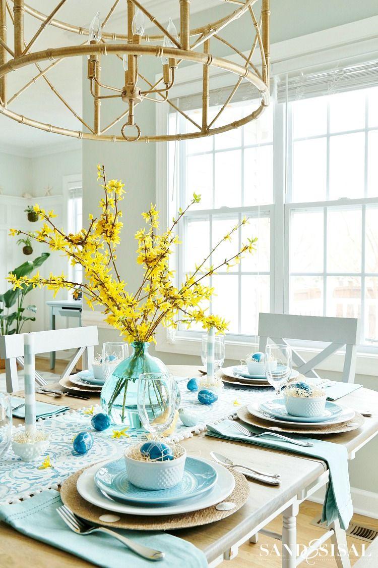 Aqua And Yellow Coastal Easter Tablescape Easter Table Settings