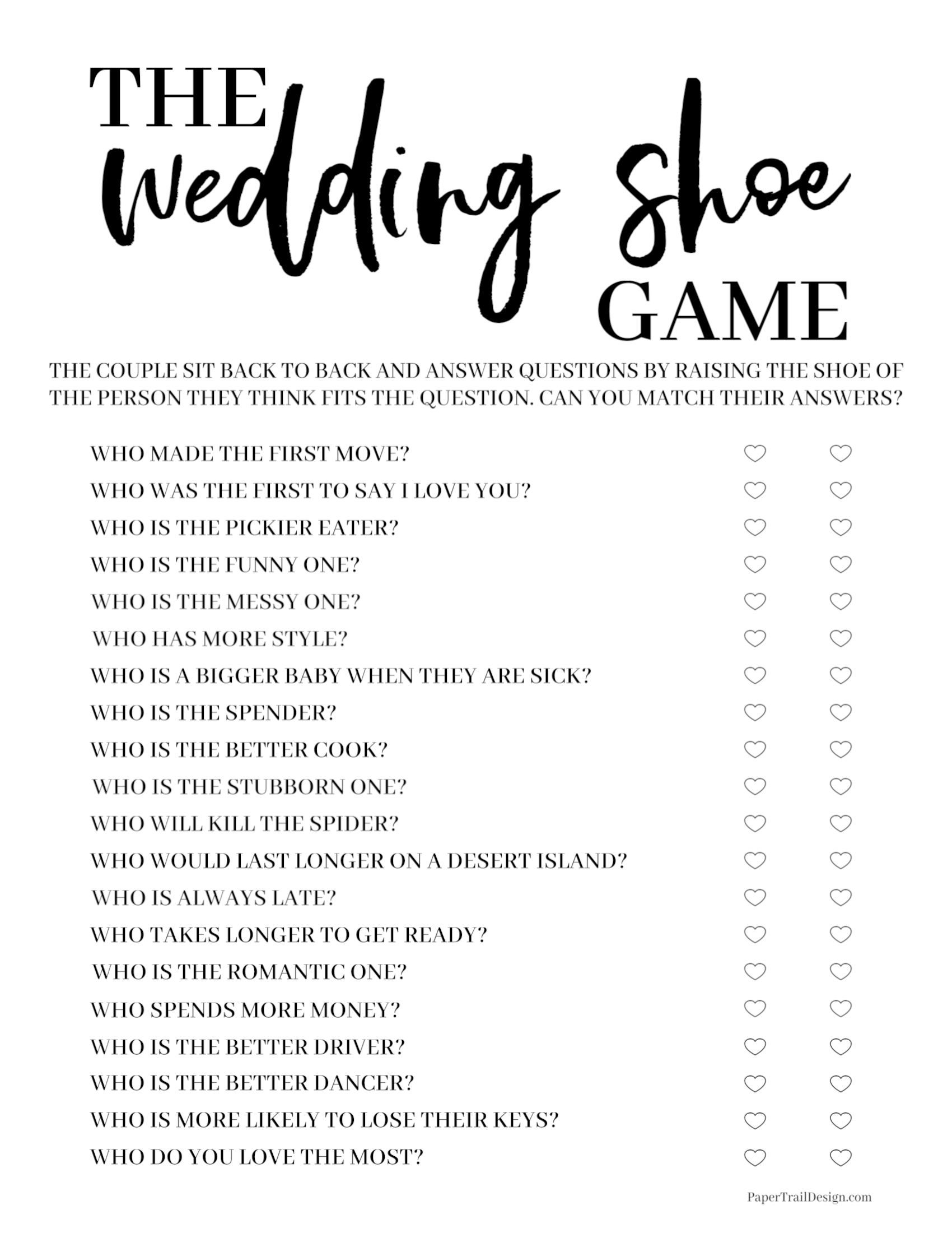 48++ Wedding shoe game questions collection