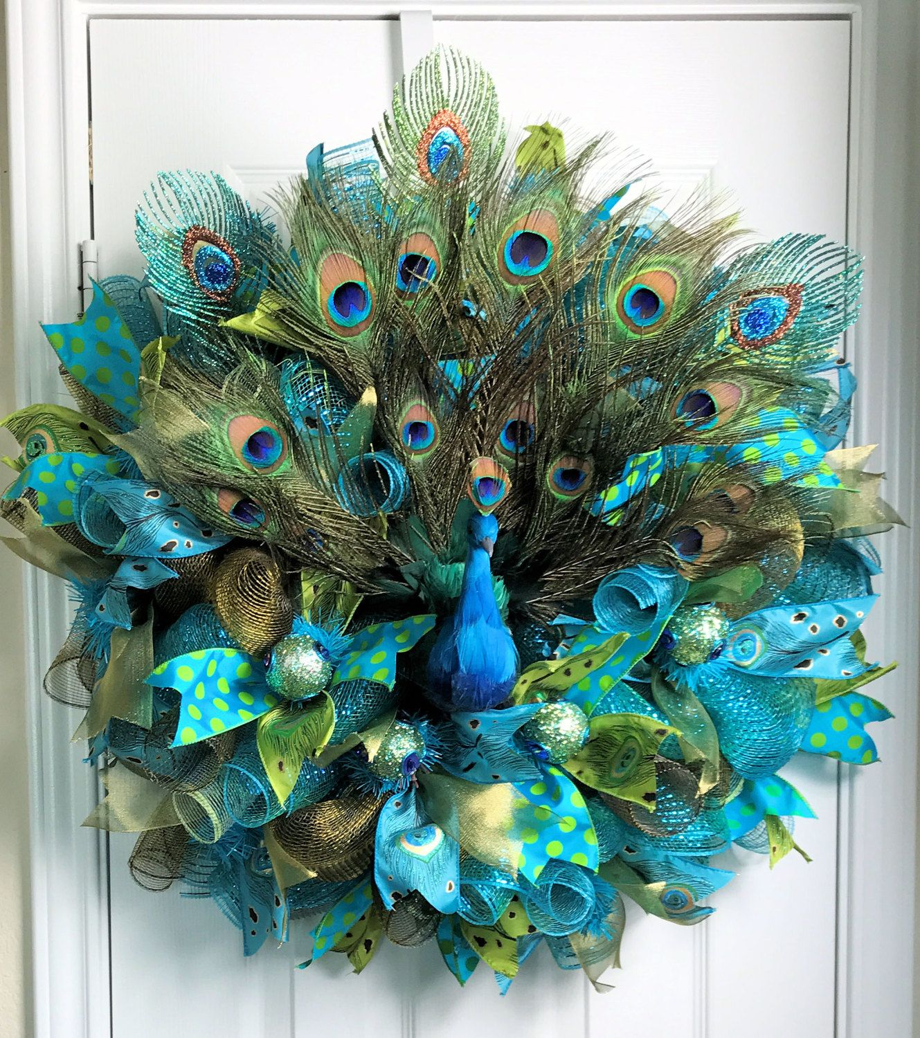 Peacock deco mesh wreath feathers