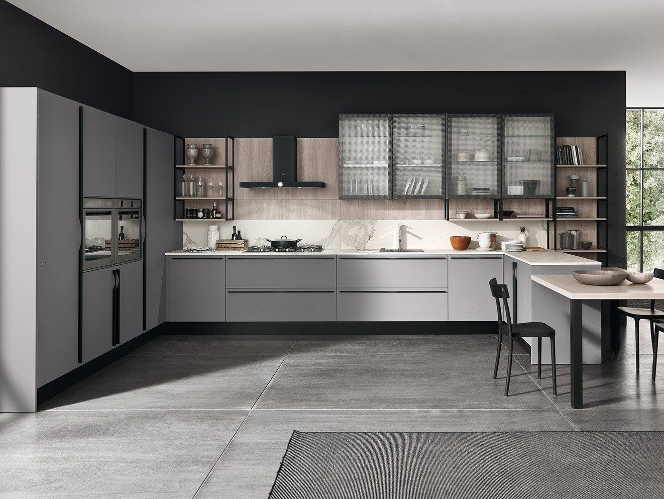 Porcelain Stoneware Fitted Kitchen With Peninsula Marina 3 0