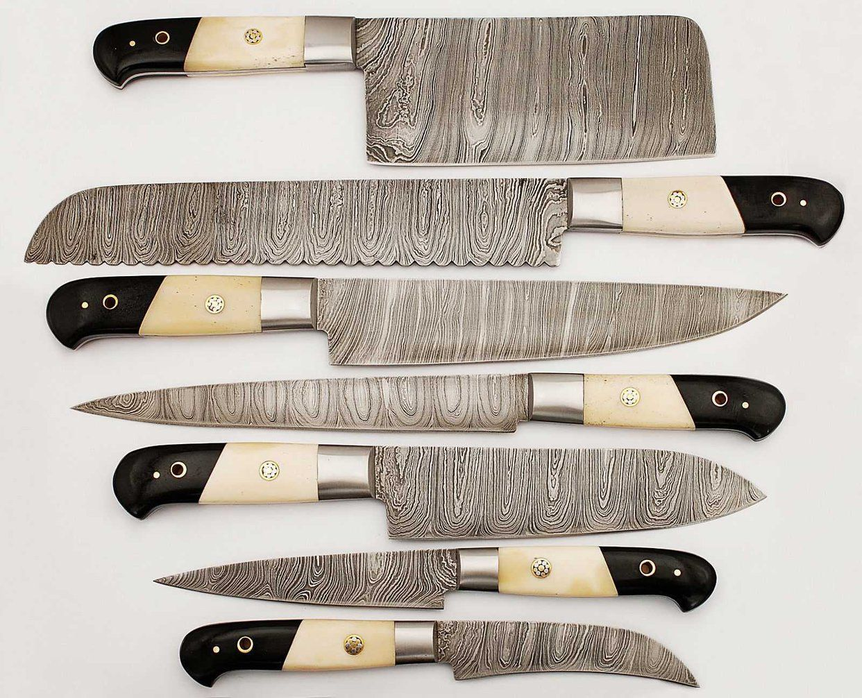 Handmade Kitchen Chef Knives Set of 7-Pcs Damascus Steel ...