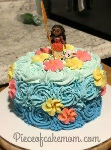 Moana smash Cake easy Easy DIY birthday cake blue ombr swirl