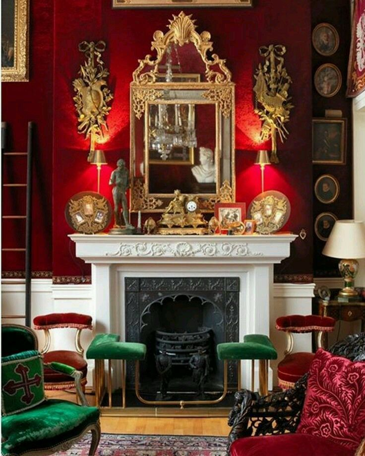 Simple firep in a rich red sitting room.   Living Rooms and ...