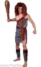 Adult WILD CAVEMAN Prehistoric Mens Animal Leopard Fancy Dress Stag Costume