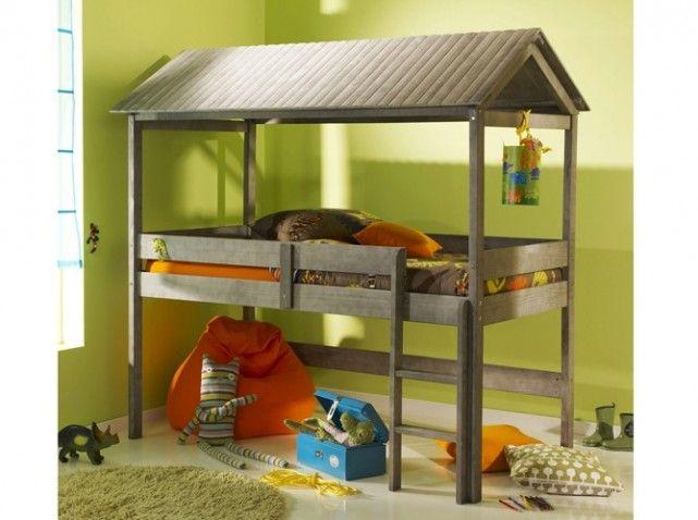 Lit mezzanine cabane enfant | Lit et chambre Xavier | Pinterest ...