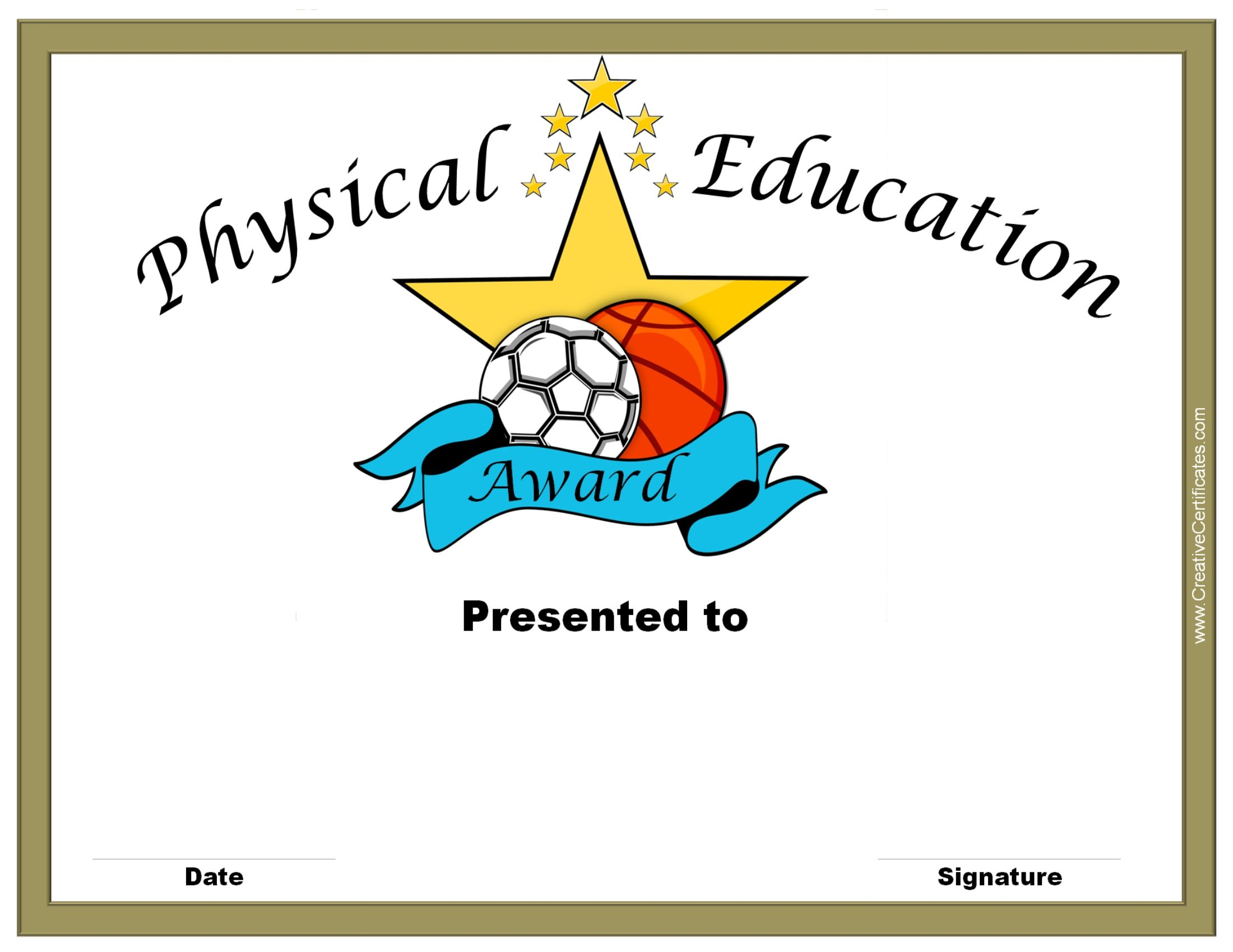 Physical Education Awards And Certificates