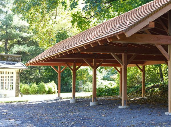 This Timber Frame Pavilion Carport Is Large And Spacious