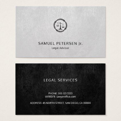 Lawyer Luxury Black Scale White Leather Look Business Card Zazzle Com Lawyer Business Card Business Cards Elegant Professional Business Cards