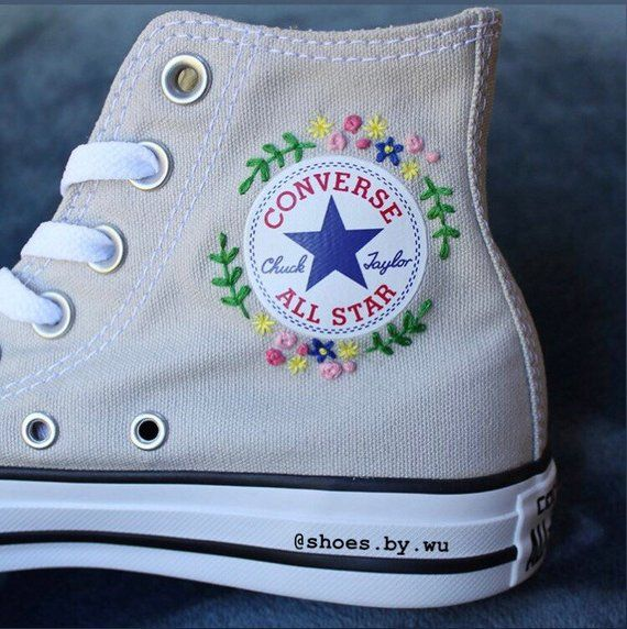 Flower Embroidered Converse | Embroidered shoes, Converse design