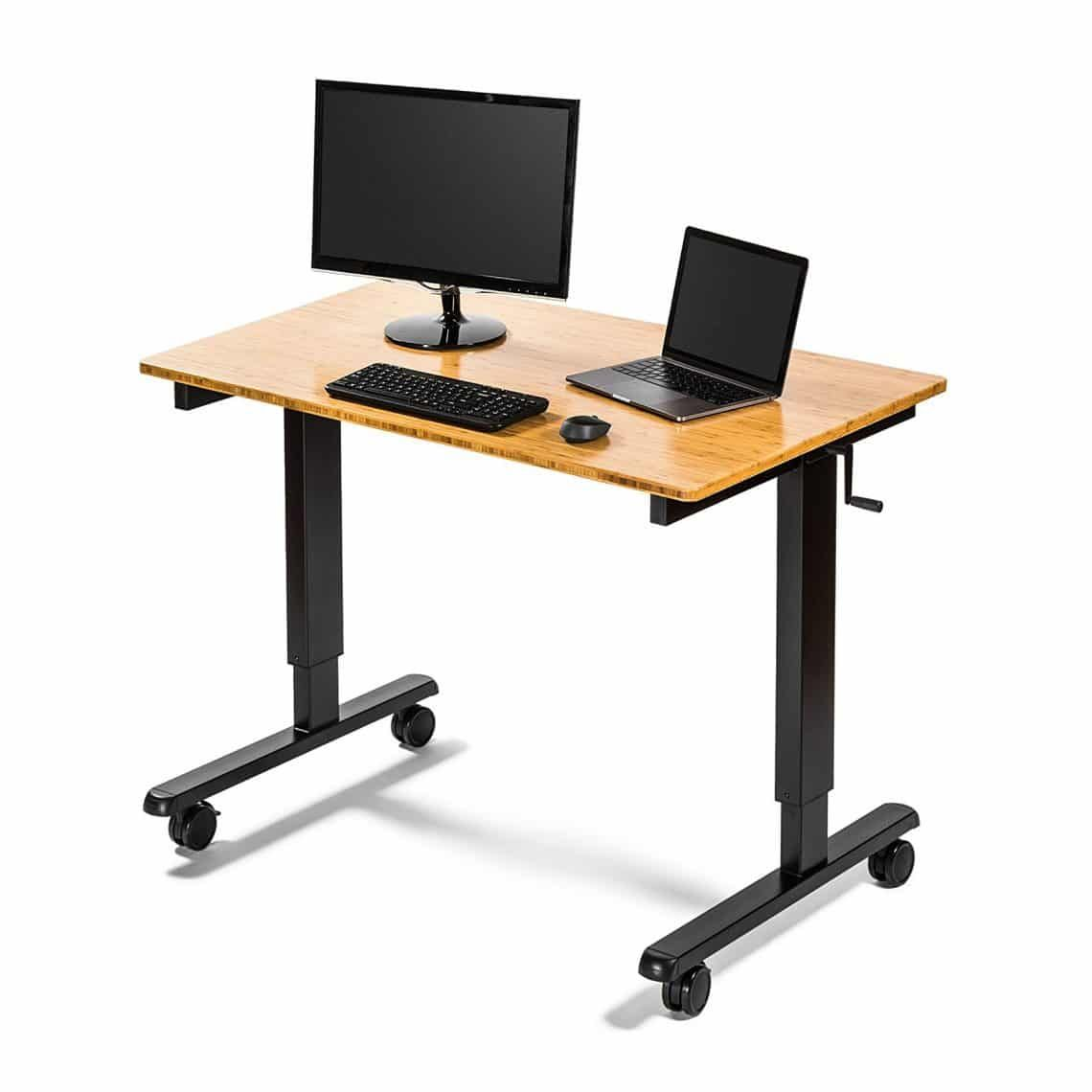 Crank adjustable desk store u stand up height standing desk top