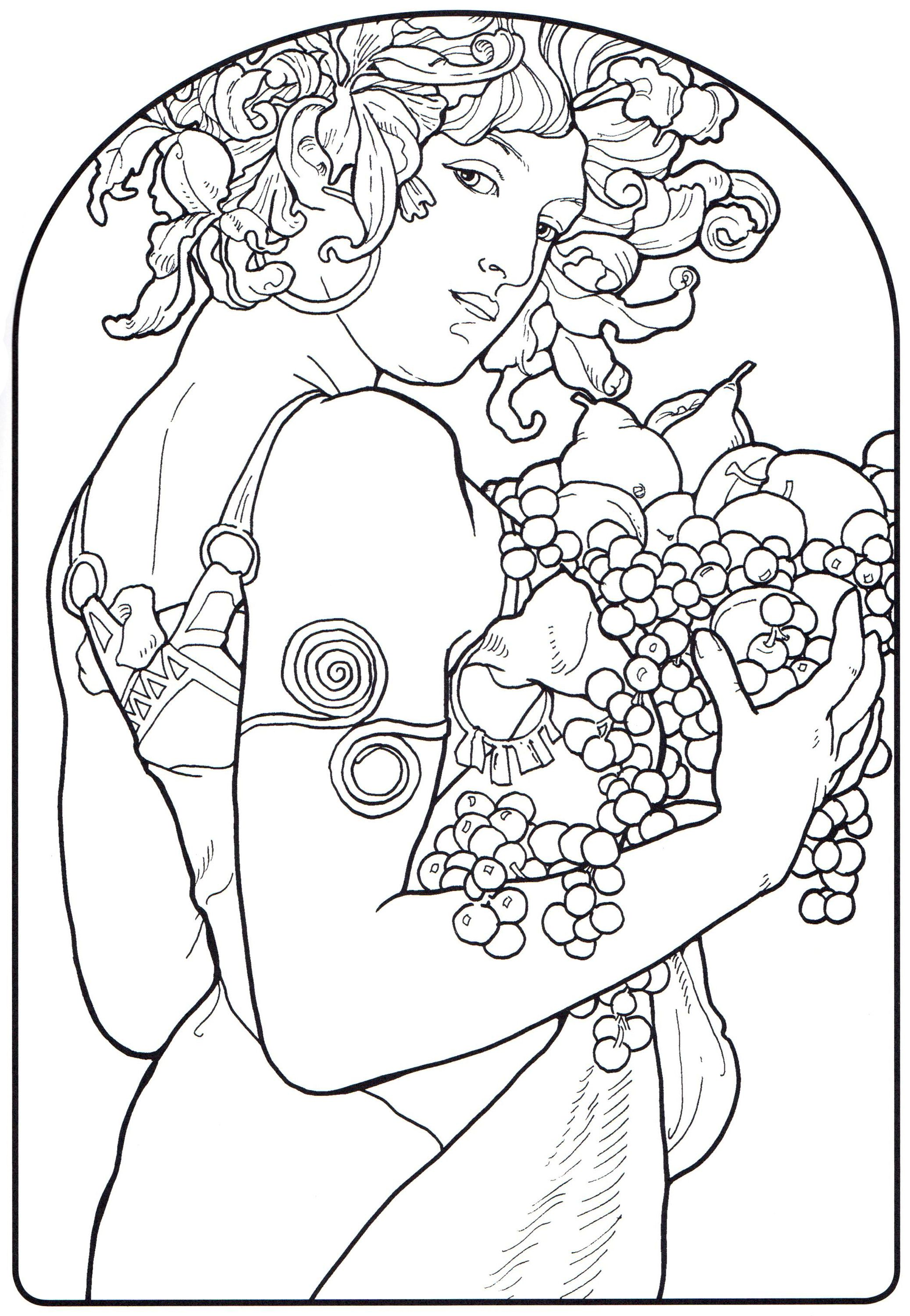 part of the alphonse mucha coloring book at pomegranate - Coloring Pages Art