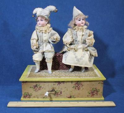 Antique Gebrüder Kuhnlenz German Bisque Head Jester Doll Music Box Automaton | eBay