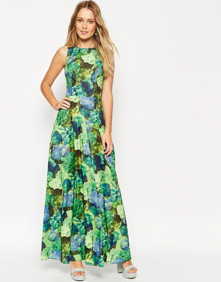 Asos cross back maxi dress in green floral print wedding for Print maxi dress for wedding