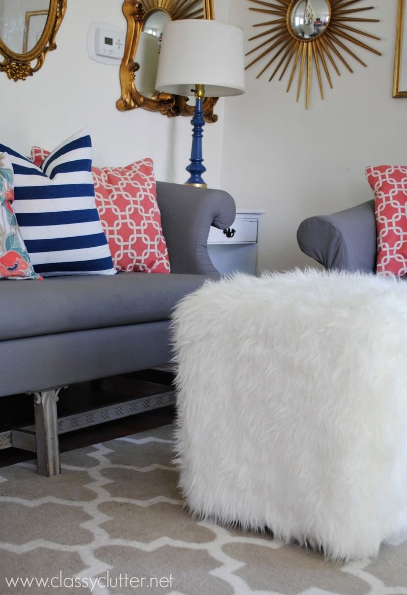 An awesome DIY Faux Fur Ottoman! This piece of furniture is unique and fun! Click for tutorial