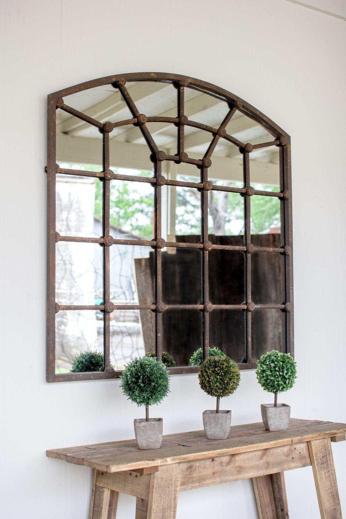 Arched iron mirror tuscan design decor rustic furniture