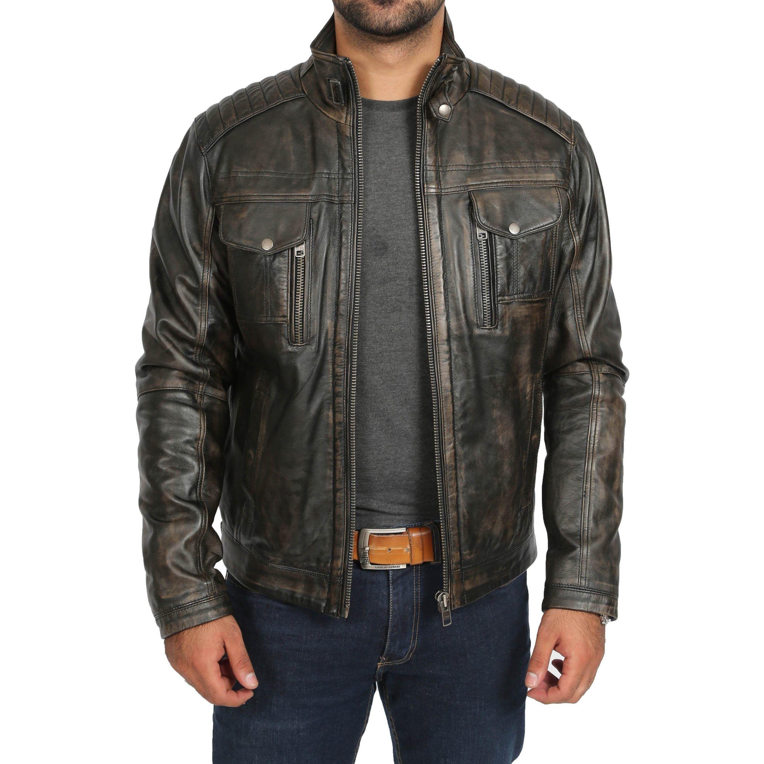 URBAN Men/'s Genuine Sheepskin Leather Jacket Biker Black Premium Trendy Designer