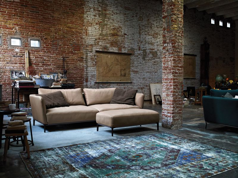 Rustic Living Room Design Exposed Brick Wall Cream Rolf Benz Sofa As