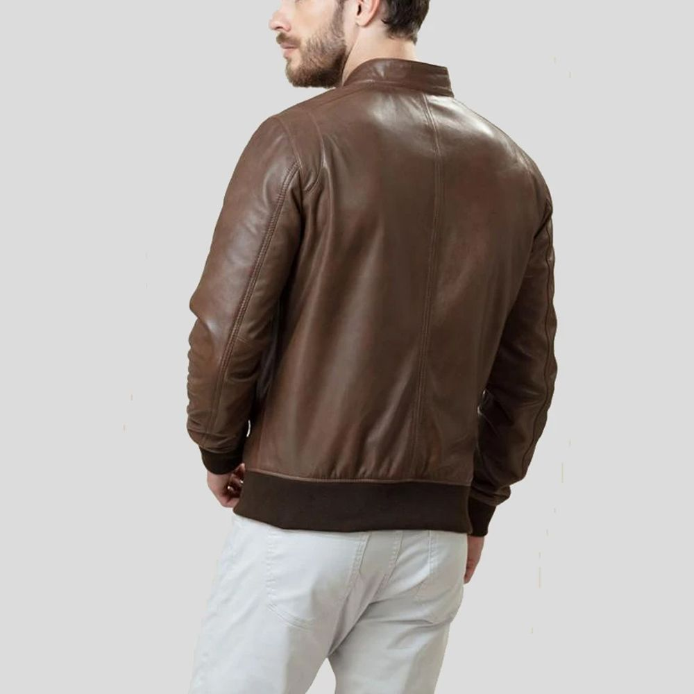 Brown Bomber Leather Jacket Khan Leather Jacket Custom Leather Jackets Leather Jacket Jackets [ jpg ]