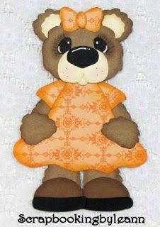 Girl Bear Paper Piecing Peach Dress on Ebay <3