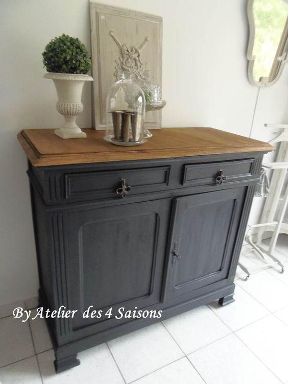 Buffet vintage patin gris ardoise revisit par l - Pochoir pour meuble en bois ...