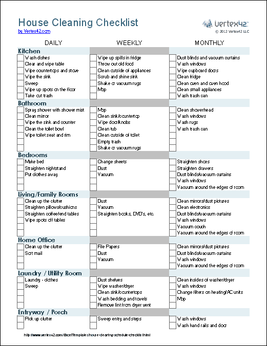A House Cleaning Checklist template for Excel. Groups tasks by ...
