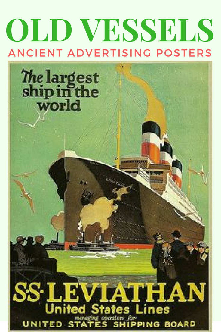 THE LARGEST SHIP  IN THE WORLD travel poster HISTORIC 24X36 new LEVIATHAN