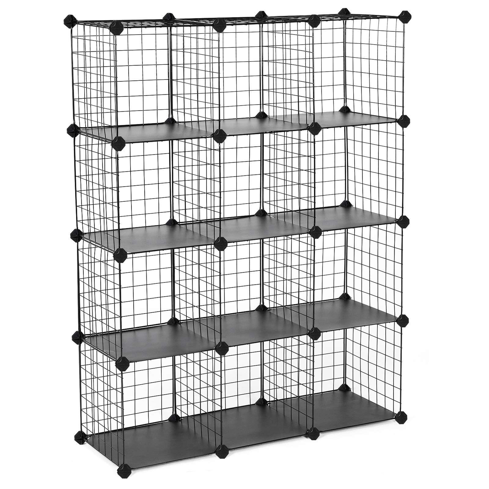 Songmics Metal Wire Cube Storage 12 Cube Shelves Organizer Stackable Storage Bins Modular Bookcase Diy Clos In 2020 Stackable Storage Bins Cube Storage Wire Shelving