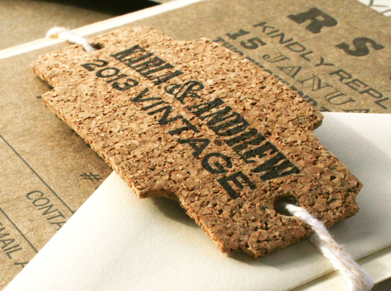 Letterpressed and Die Cut Cork Tag for Wedding Invitations or to ...