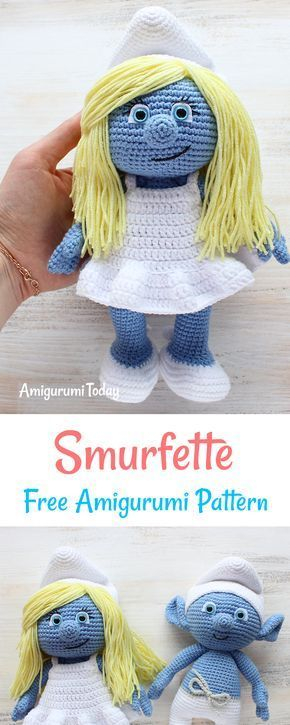 Crochet Smurfette amigurumi pattern | Amigurumi, Häckeln und Schlümpfe