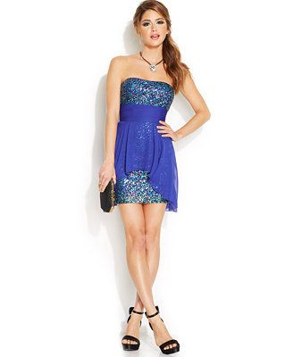 Hailey Logan by Adrianna Papell Juniors\' Sequin Chiffon Dress ...