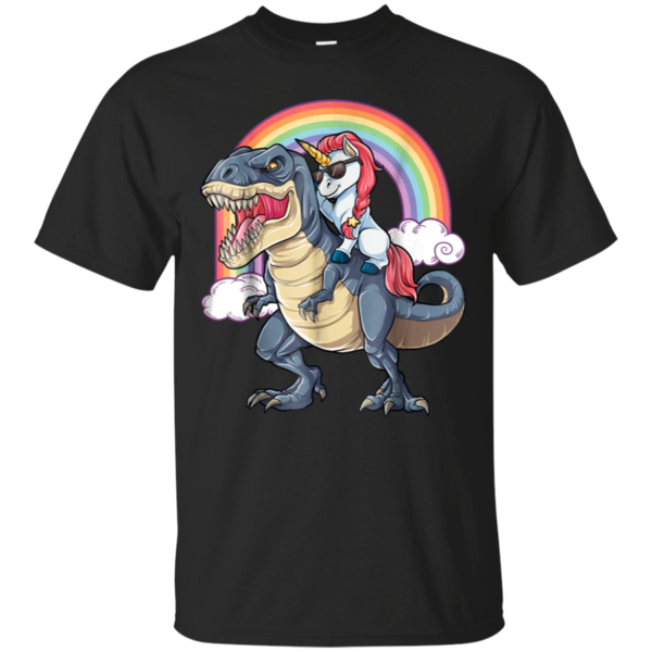 128d6e135959f Unicorn Riding T rex Shirt Dinosaur Boys Girls Kids Gift Men ...