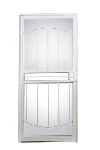 Tru Bolt 502 Arch 36 X 80 White Steel Prehung Security Door At Menards Security Storm Doors Security Door Exterior Doors