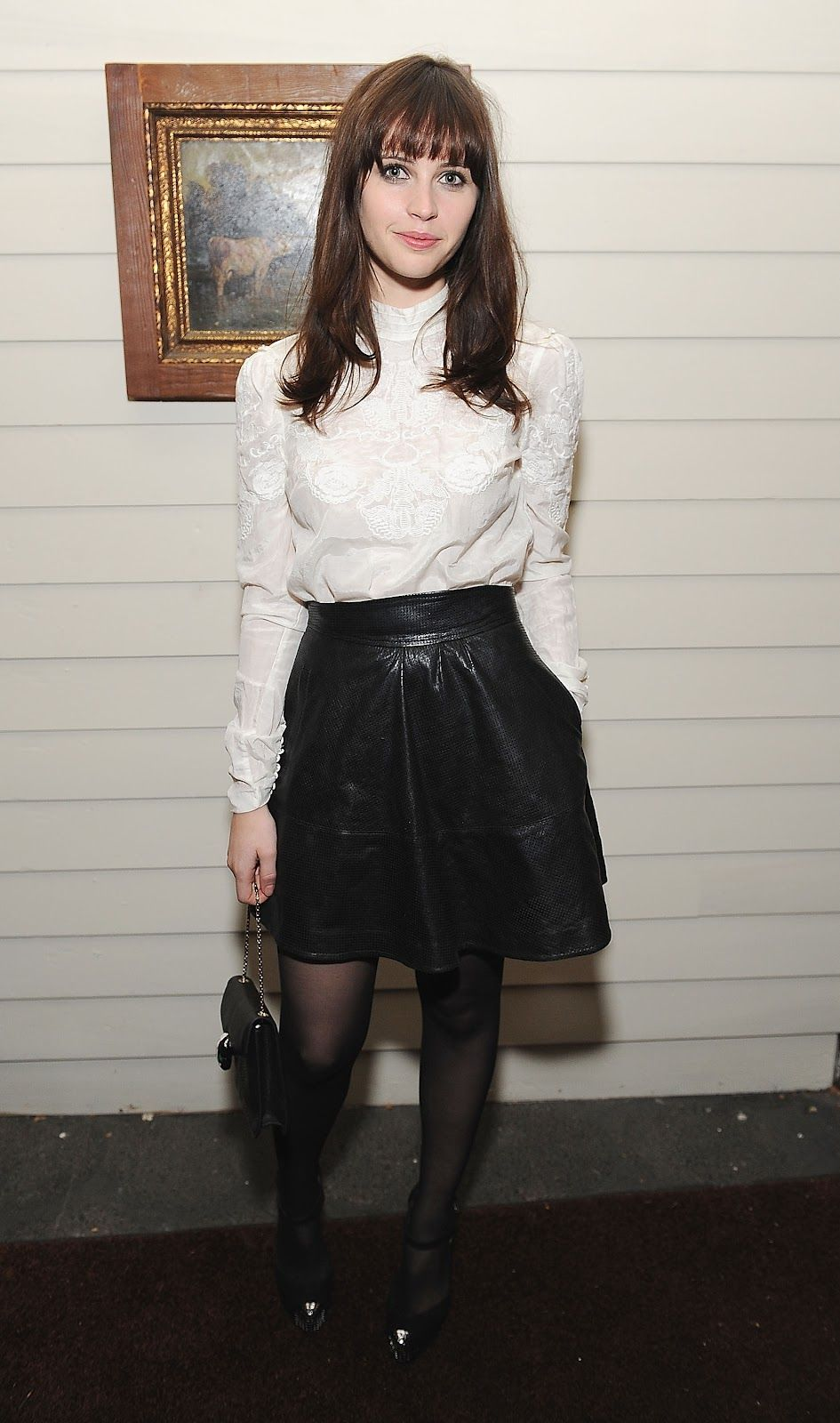 White Shirt, Leather High Waist Skirt | Felicity Jones | My Style ...
