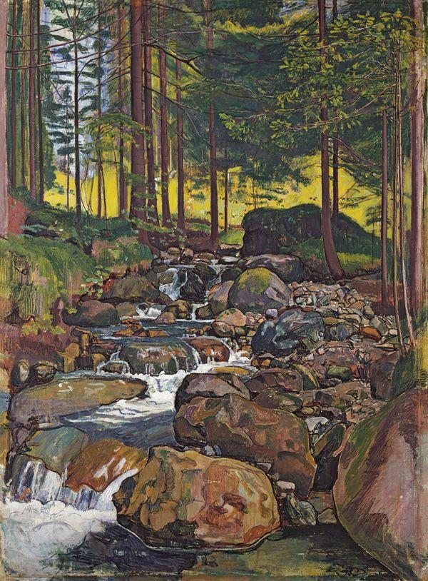Ferdinand Hodler. Bosque con arroyo de montaña 1902