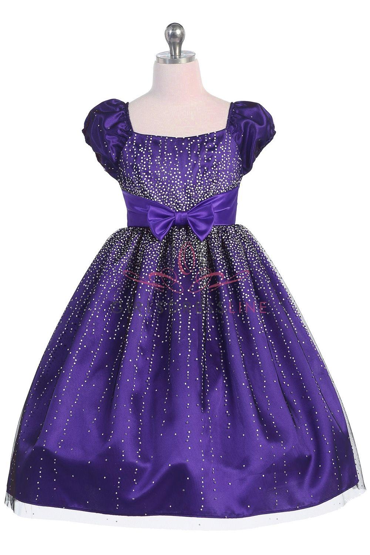 For the girls! Purple Elegant Sparkly Tulle Flower Girl Dress ...