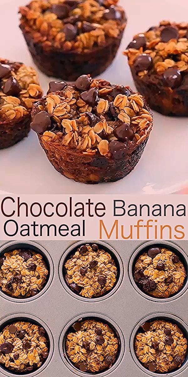 Gesunde Bananen-Schokoladen-Chip-Hafermehl-Muffins