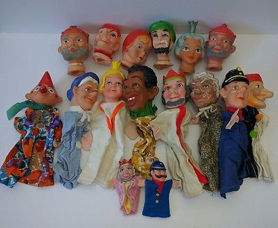 Lot 16x Vtg Puppets Mr. Rogers German Kasperletheatre Punch & Judy Rubber Heads