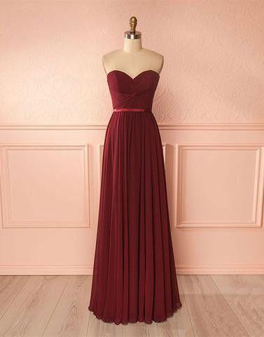 9923e7a7a3fa burgundy sweetheart chiffon simple cheap long Bridesmaid Dresses,PD9998