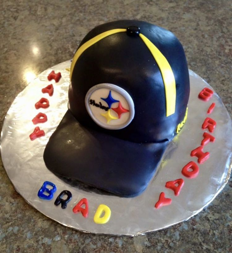 Steelers Hat Birthday Cake Made With Fondant Steelers Cakes Etc