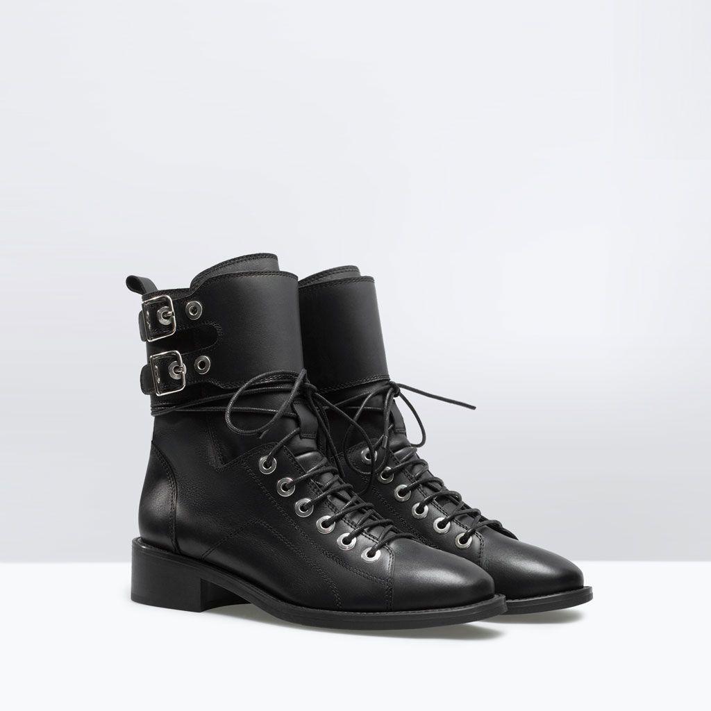Εικόνα 2 του ΔΕΡΜΑΤΙΝΟ ΣΤΡΑΤΙΩΤΙΚΟ ΜΠΟΤΑΚΙ ΜΕ ΑΓΚΡΑΦΕΣ από Zara Ankle Boots  Uk 2dbf2cf976e
