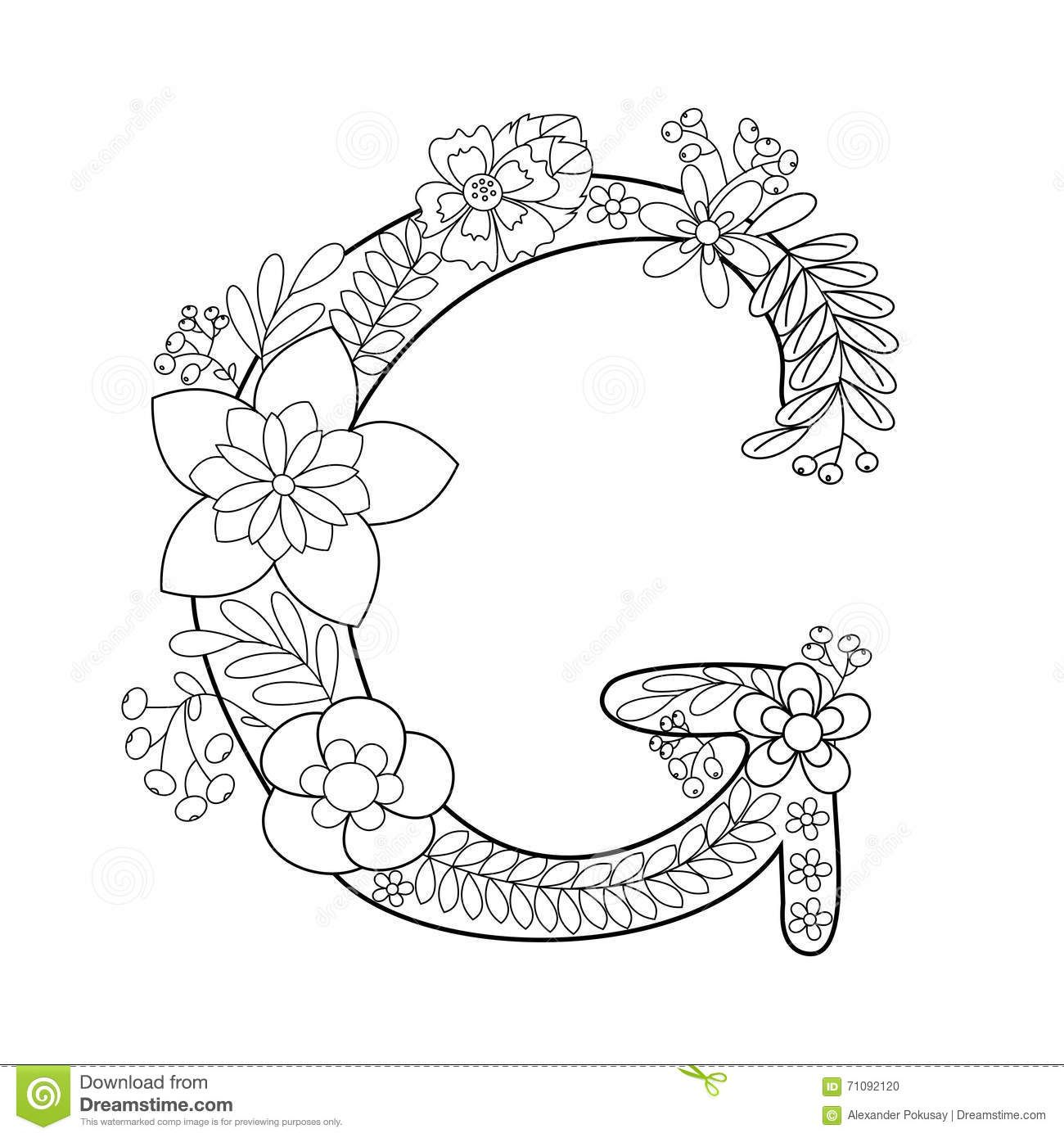 Letter G Coloring Book For Adults Vector Stock Vector Image